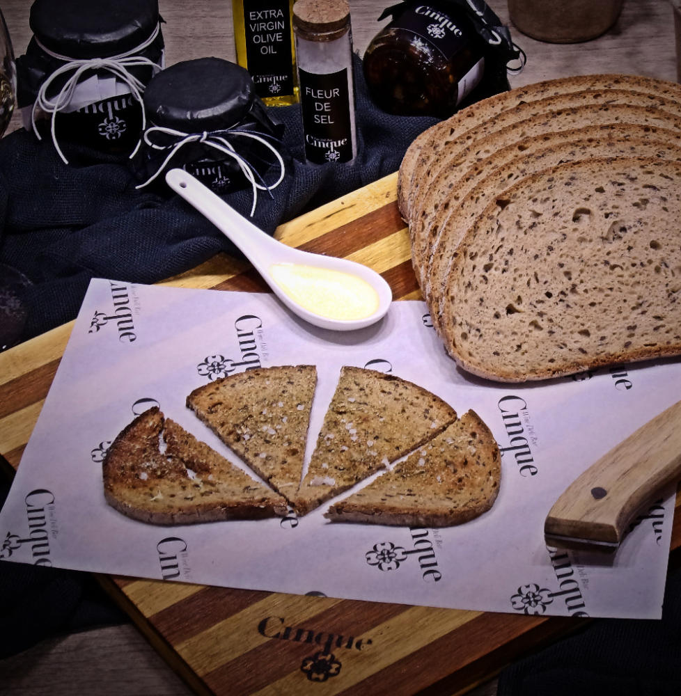 Extra virgin oil garlic oregano bruschetti Cinque wine bar Athens