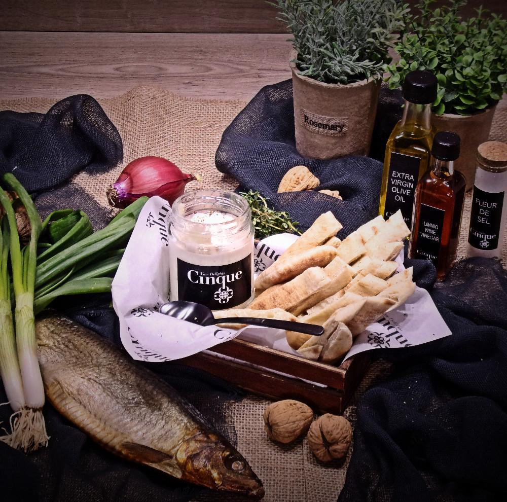 Fish roe spread salad pita bread greek products Cinque wine bar Athens