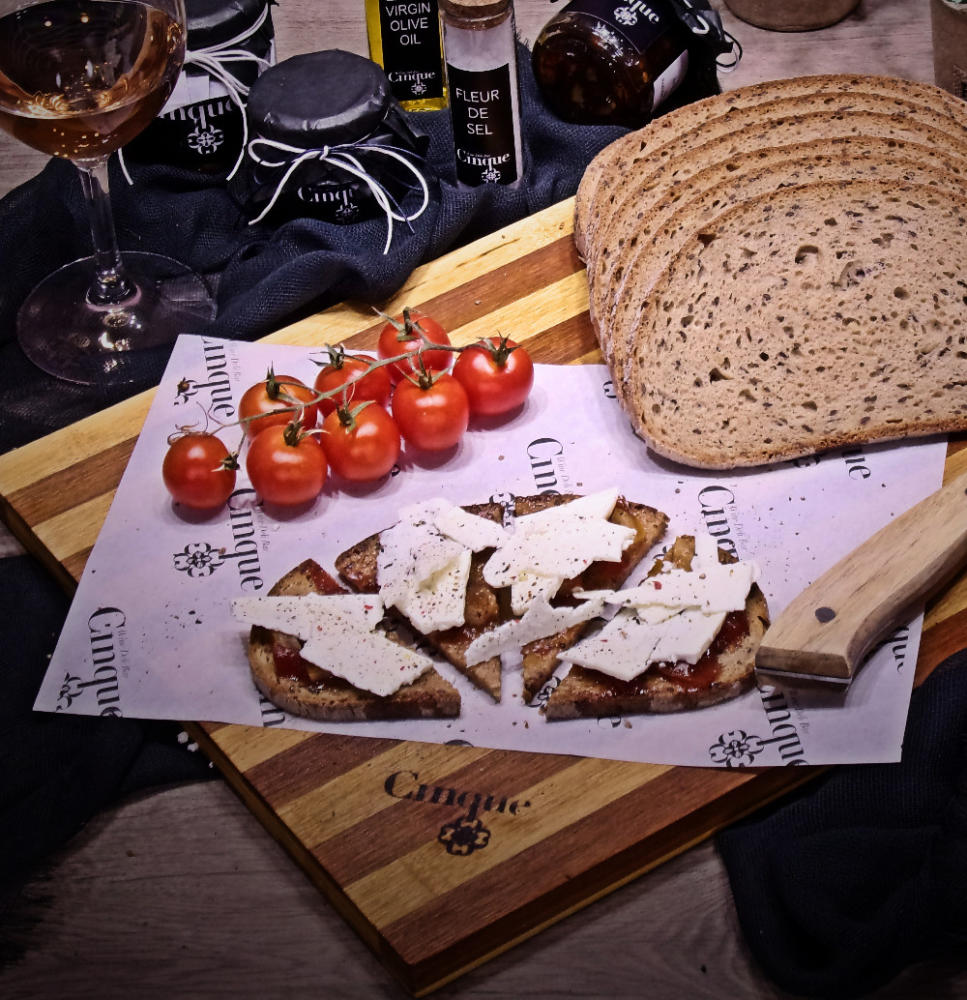 Goat cheese with tomato chutney homemade bruschetti Cinque wine bar Athens