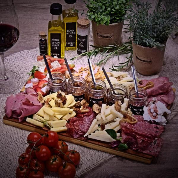 Greek charcuterie cheeses platter homemade chutneys Cinque wine bar Athens
