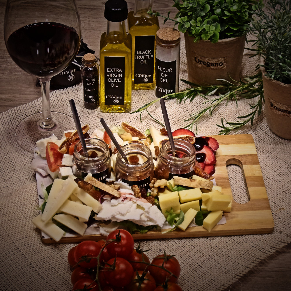 Cheese platter greek products PDO homemade chutneys Cinque wine bar Athens