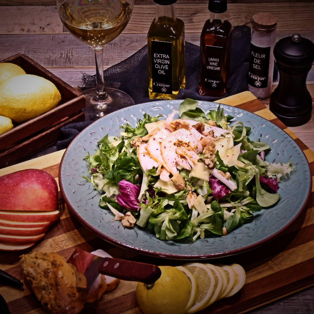 Green salad with chicken fillet apple & walnuts greek products homemade exquisite taste Cinque wine bar Athens