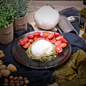 Mozzarella buffala vine leaves pesto tomato homemade greek products exquisite taste Cinque wine bar Athens