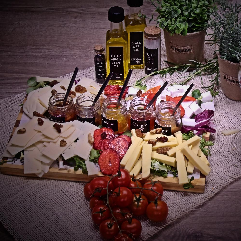 Cheese platter vegan greek products PDO homemade chutneys Cinque wine bar Athens