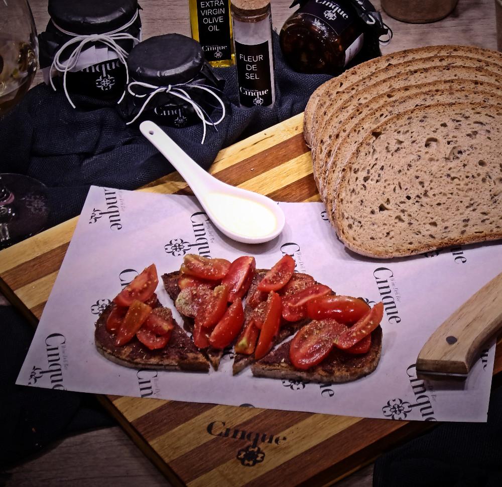 Tomato olive paste oregano greek products Cinque wine bar Athens