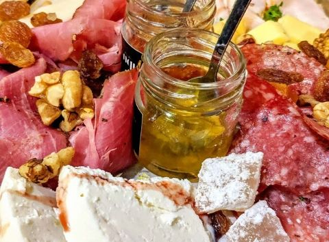 cheese and chaecuterie board homemade chutney Cinque wine bar Athens