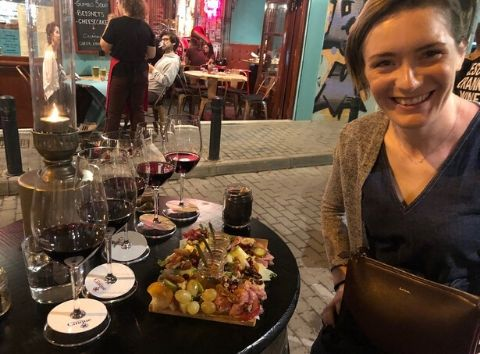 Cinque wine bar Athens greek wine tasting charcuterie and cheese plate food tasting