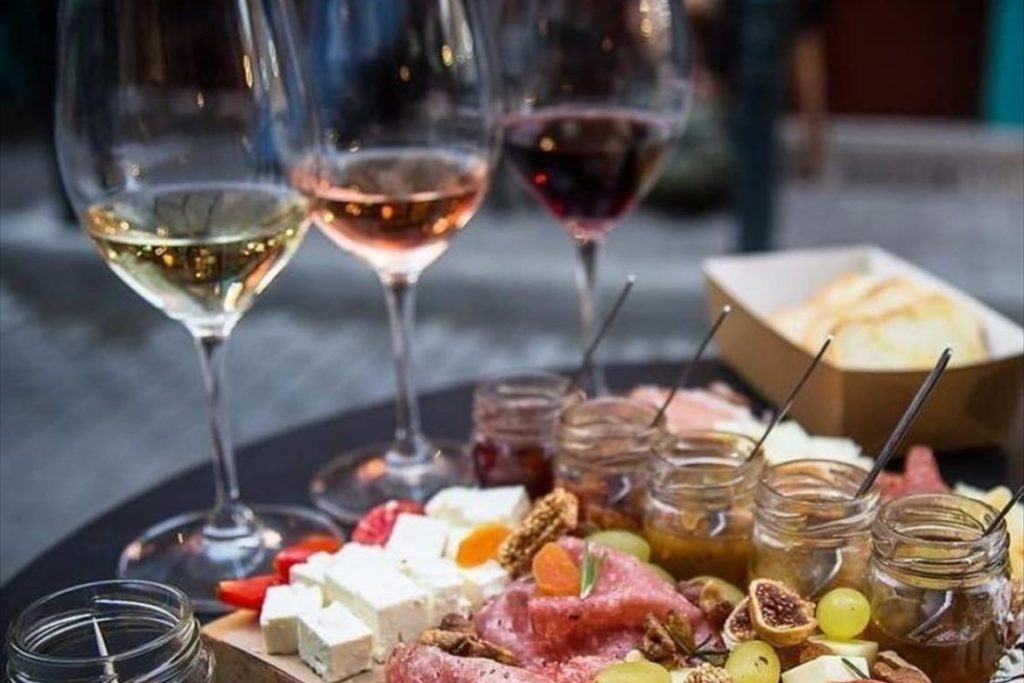 Greek charcuterie and cheese plates Cinque wine bar Athens greek wine tasting