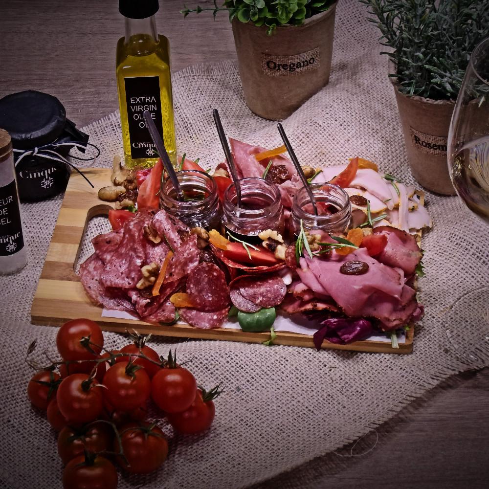 Greek charcuterie platter homemade chutneys Cinque wine bar Athens