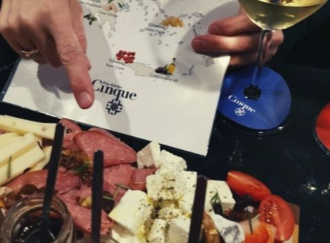 greek products cheese and charcuterie tasting Cinque wine bar Athens