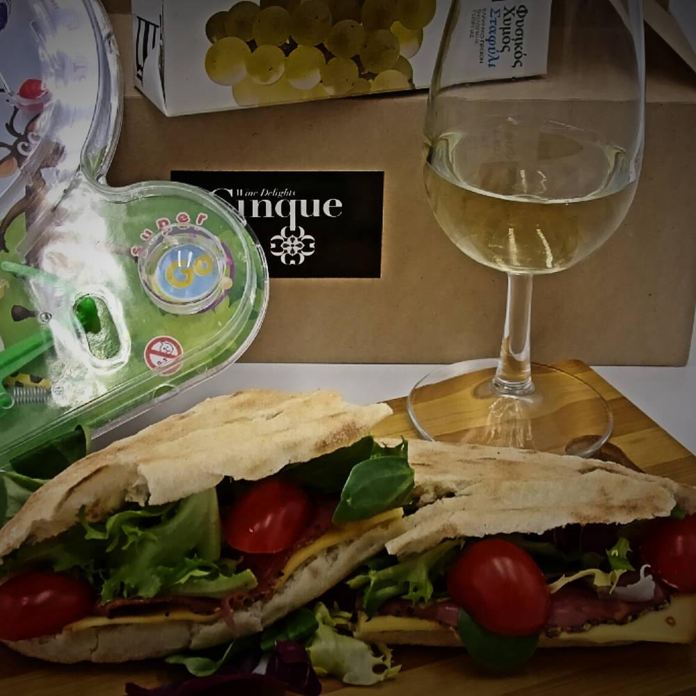 Kid's menu panini grape jus greek products Cinque wine bar Athens