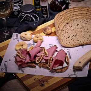 Pastrami manouri cheese fig jam homemade Cinque wine bar Athens greek products