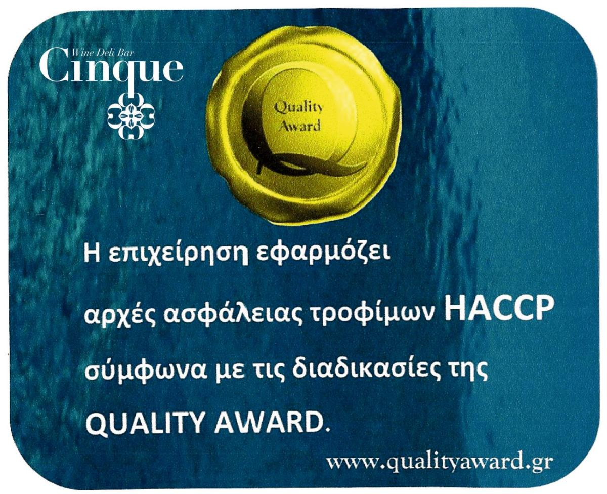 Cinque Wine Bar applies HACCP food safety principles according to Quality Award