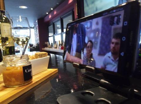 Virtual wine tasting Cinque wine bar Athens Greece