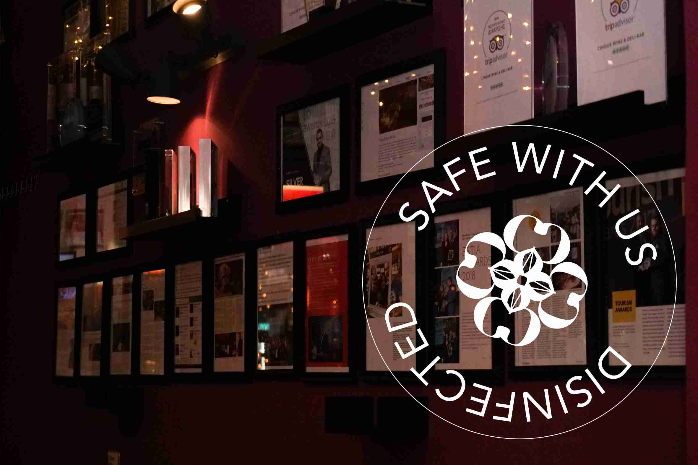 Safe with us - Cinque wine bar - safety - covid free